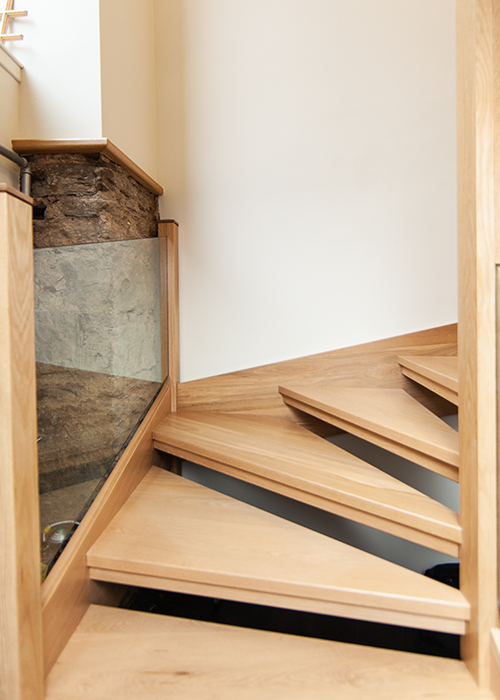 Handcrafted timber staircase in house